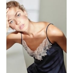 Silk Nightdress with Deep Lace in Navy & Pink