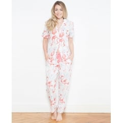 Grace Woven Short Sleeve Flamingo Print Pyjama Set