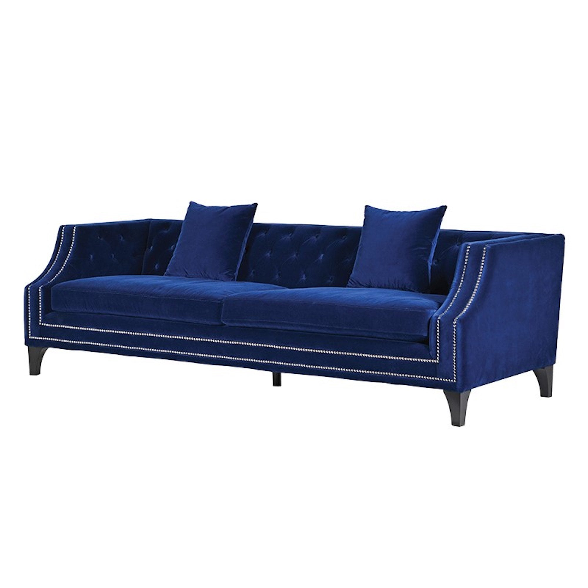 Admirable Heath Blue Velvet Sofa With Silver Studs Alphanode Cool Chair Designs And Ideas Alphanodeonline