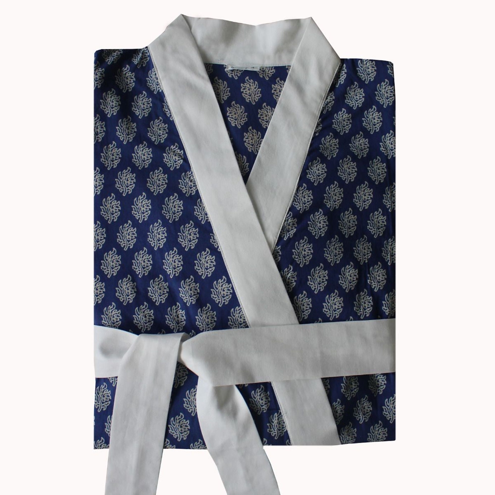 Hindi 100% Cotton Indigo Wrap Dressing Gown - For Her... from The ...