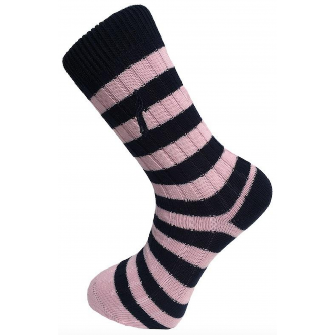 Francis Striped Socks - Navy & Pink