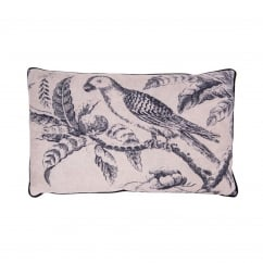 V&A Blue Parrot Toile Cushion - Rectangular