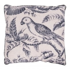 V&A Blue Parrot Toile Cushion - Square