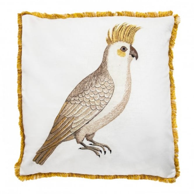 India Jane V&A Cockatiel Cushion with Velvet Rear