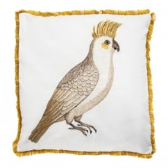 V&A Cockatiel Cushion with Velvet Rear