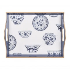 V&A Serving Tray - Al Fresco Blue & White China