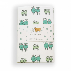 Single Fitted Sheet, Twin Green or Raspberry Lambs