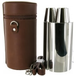 24oz Three Flask Set in Leather Case