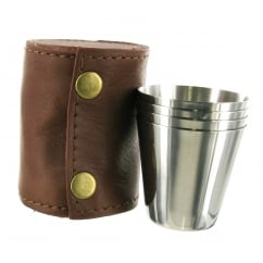 4 Cup Set with Leather Case