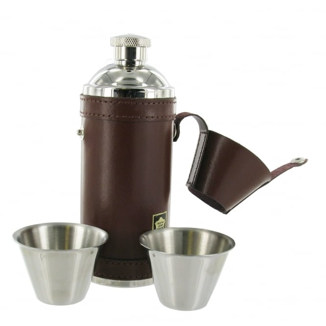 8oz Leather Hunting Flask and 2 Cups