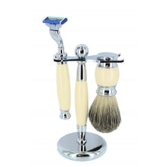 Artamis Ivory Mach 3 Shaving Set with Badger brush