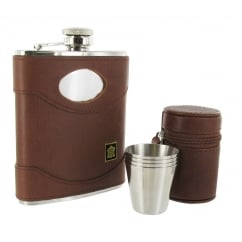 Artamis Leather Bound Flask and Cup set