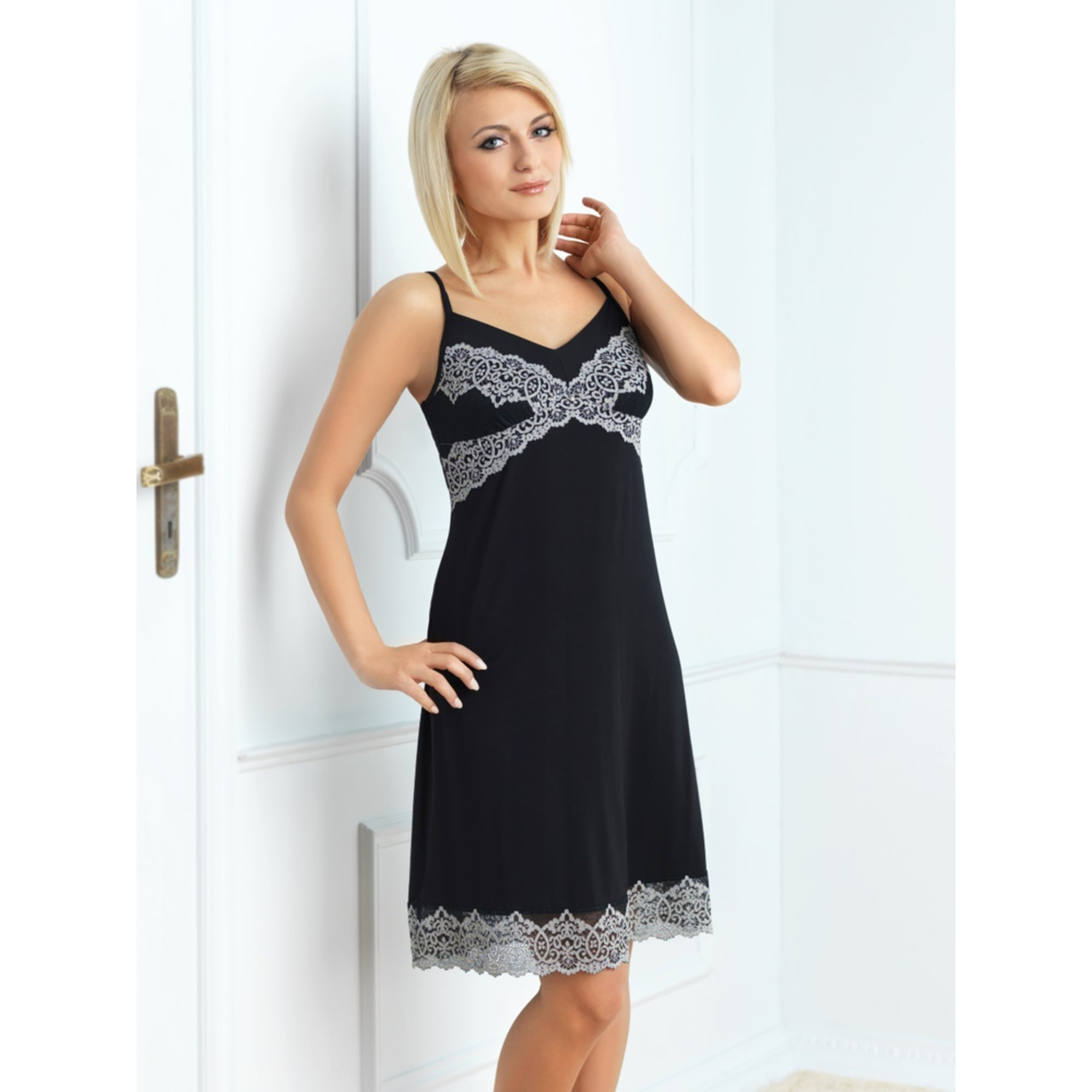 Lace Detail Black Knee Length Nightgown - For Her... from The Luxe ...