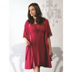 Lace & Satin Trim Robe with Tie