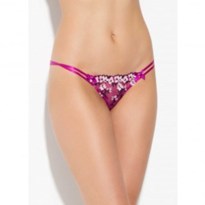 Kaity Trixie Thong in Cerise and Navy with floral embroidery