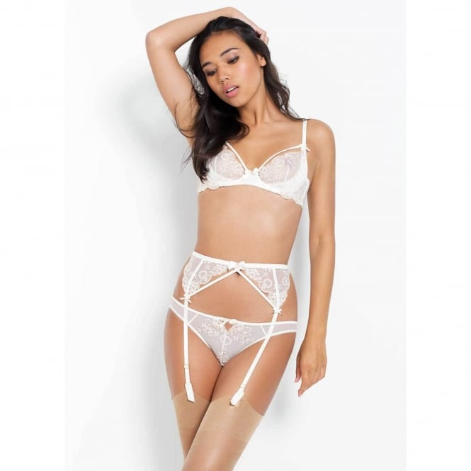 Lusina Suspender in Ivory with Pearlescent Beads