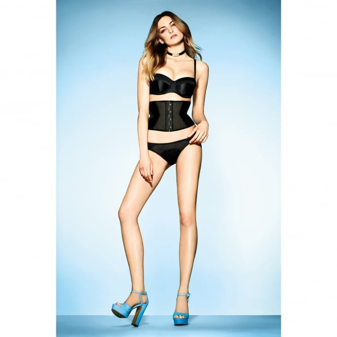 L'Agent by Agent Provocateur Penelope Black Padded Strapless Bra with stretch satin with mesh back