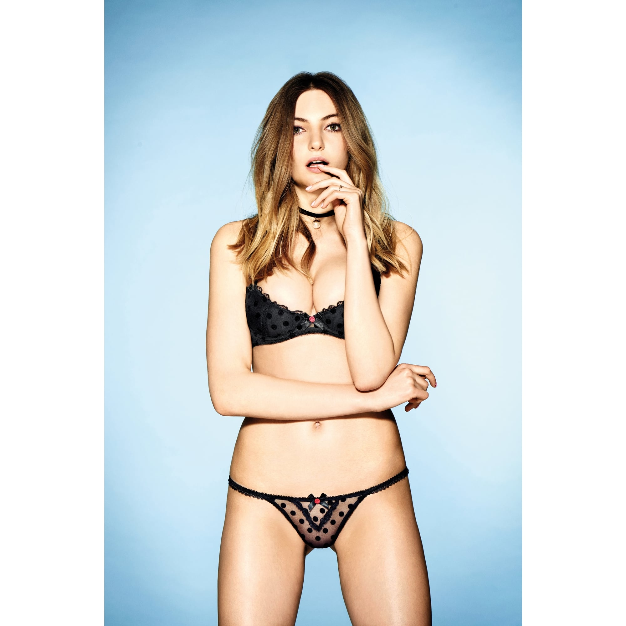 08f6766615120 L Agent by Agent Provocateur Rosalyn Thong in sumptuous spot-flocked sheer  black tulle