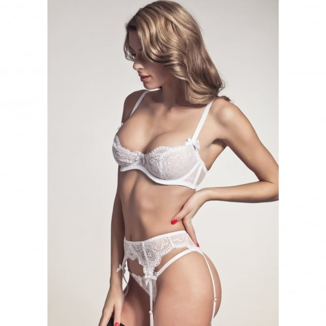 L'Agent by Agent Provocateur Vanesa Pure White French Lace Trixie Thong