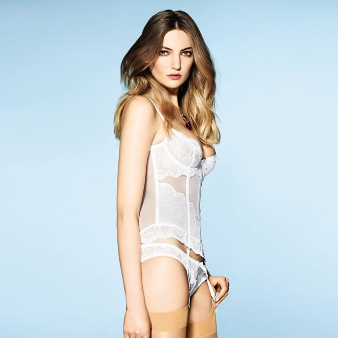 Vanesa Pure White Lace and Tulle Basque