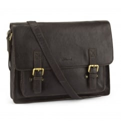 Large Brown or Chestnut Leather Satchel with Front Buckle Detail