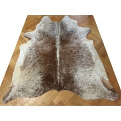 Large Cream & Brown Cow Hide Rug