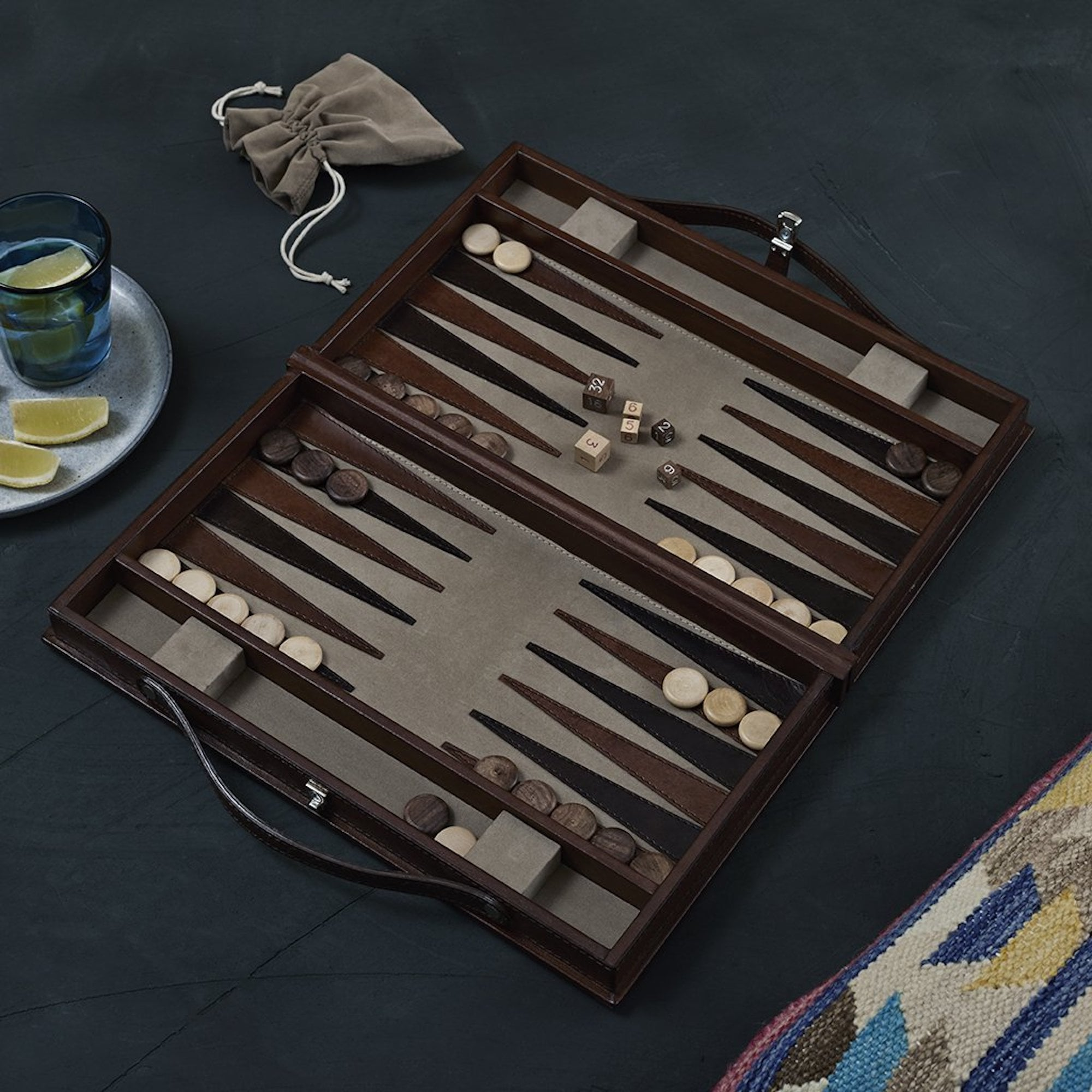 J.A. Marshall & Sons Leather Bound Backgammon Set