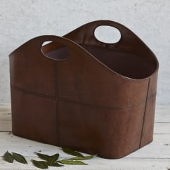 Leather Curved Magazine Basket in Tan or Brown