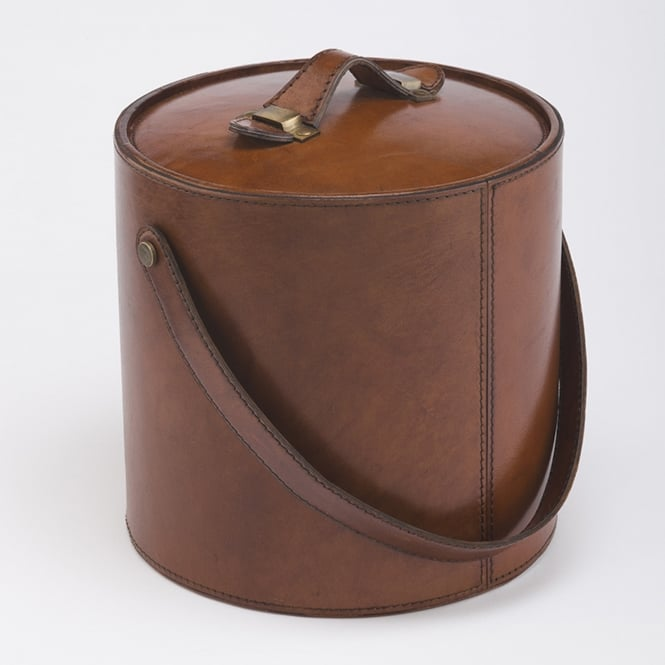 Leather Ice Bucket in Tan