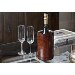 Leather Wine Cooler in Tan