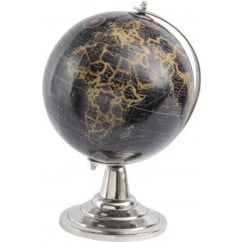 Black and Gold Globe on Silver Base