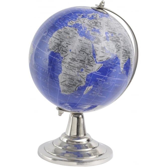 Blue and Grey Globe on Silver Base