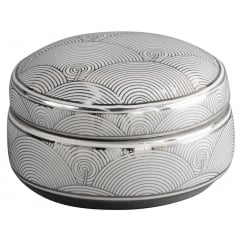 Fan Deco Ceramic Trinket Box in Silver and White