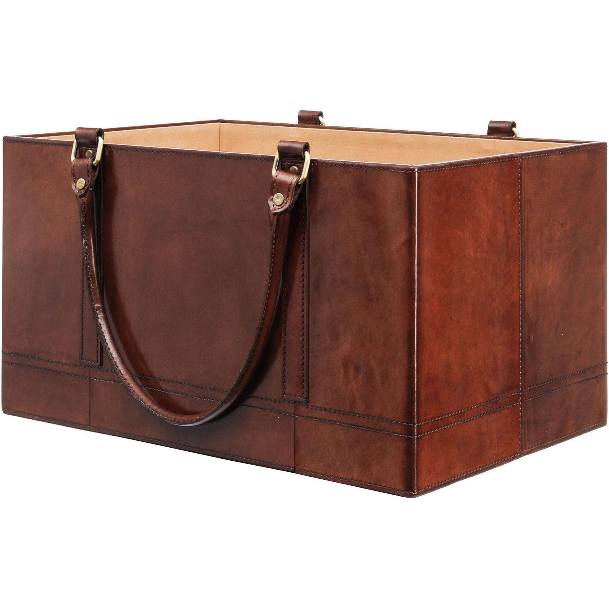 Morton Stitched Leather Magazine Box Home Travel From