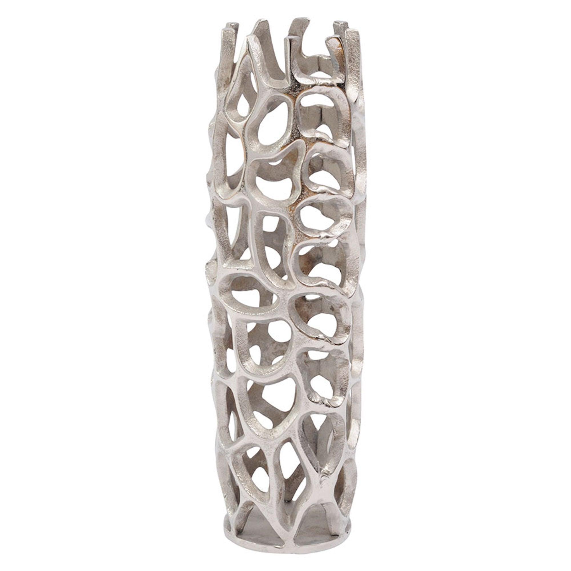 Silver Coral Cage Vase Textured Aluminium