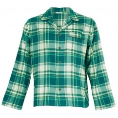 Like Father Like Son Woven Green Check Button Through Top