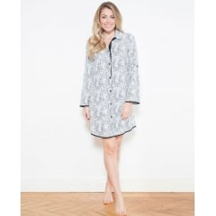 Luna Woven Turn up Sleeve Animal Print Nightshirt