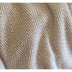 Luxury Cashmere Herringbone Throw in Biscuit or Charleston Grey