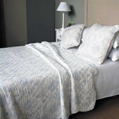 Antique Blue Toile Quilted Bedspread