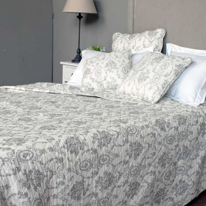 LX Antique Grey Toile Quilted Bedspread