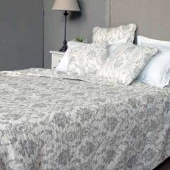 Antique Grey Toile Quilted Bedspread