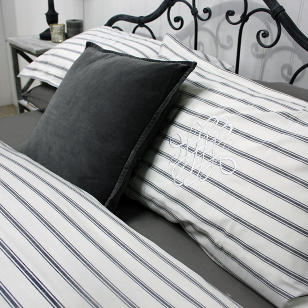 Auberge French Grey or Blue Stripe Ticking Pillow Case (x 2)