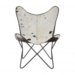 Black & White Cow Hide Leather Butterfly Chair with Iron Frame