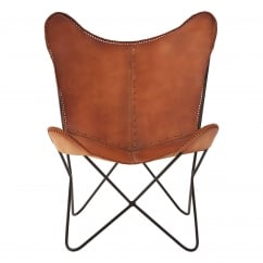 Brown Buffalo Leather Butterfly Chair with Iron Frame