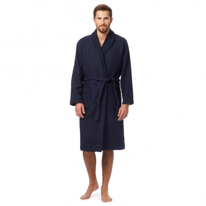LX 100% Cotton Mens Waffle Gown in Navy