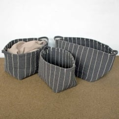 Grey Stripe Rope Storage Baskets (in 3 sizes)