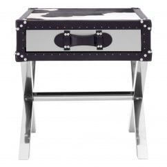 Kensington Townhouse Black and White Cow Hide 1 Drawer Table
