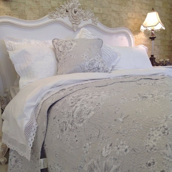 White Lace Edged Cotton Vintage French Country Duvet Set