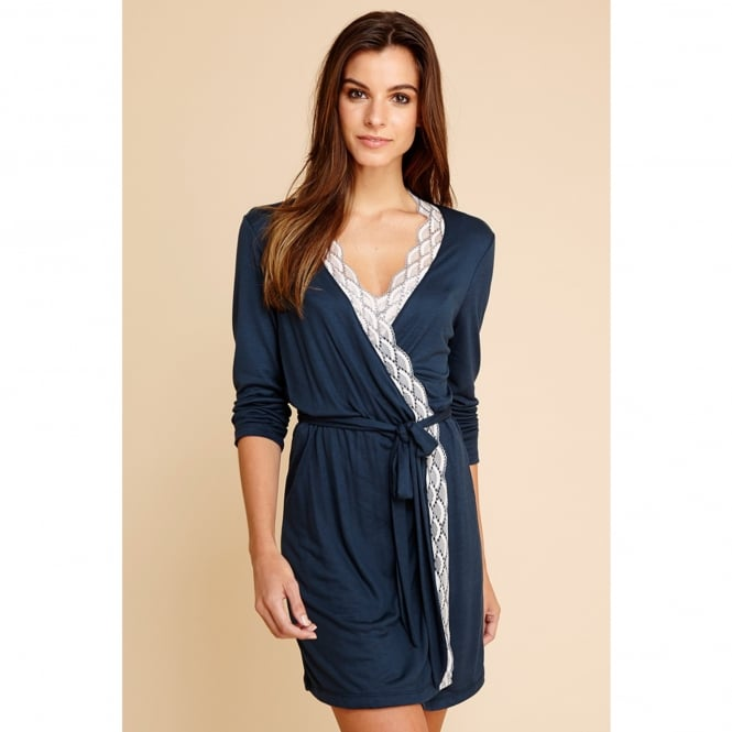 Mabel Navy Wrap Front Robe with wide Lace Trim