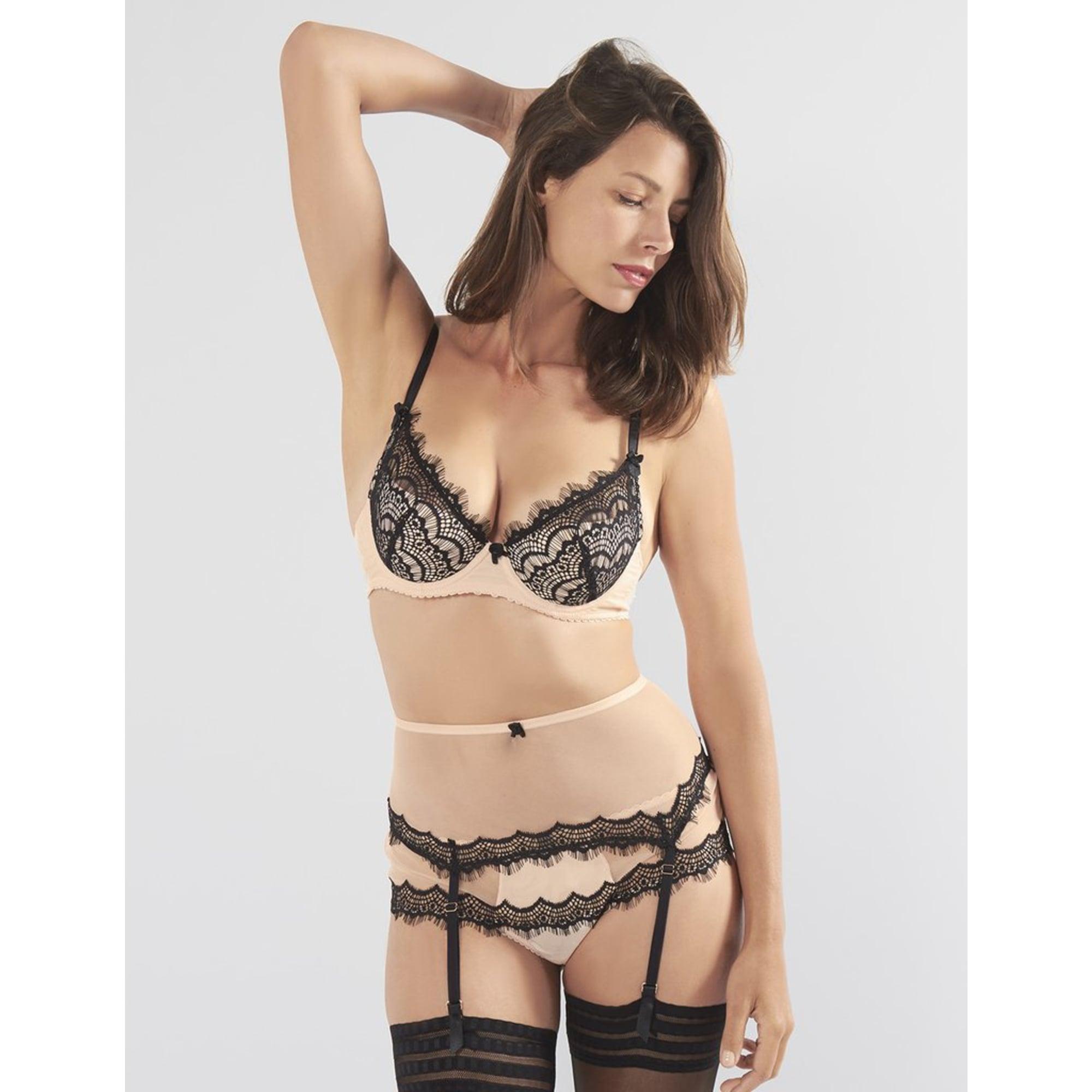 bisou bisou zoo corset nude & black boyshorts - night, loungewear